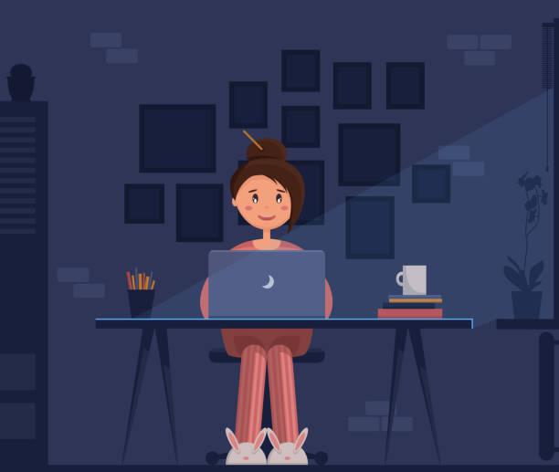 stockillustraties, clipart, cartoons en iconen met freelancer jonge vrouw zit op haar kantoor aan huis met laptop nachts werken. - teenager animal