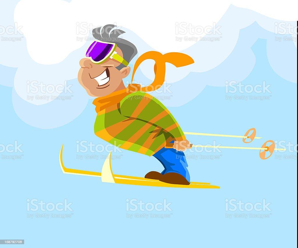 freerider skier during a jump vector art illustration