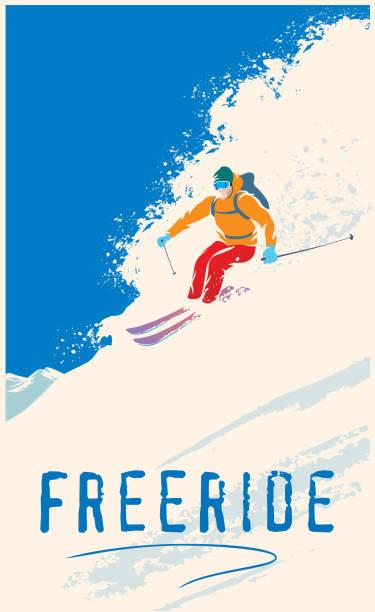 freerider - skifahren stock-grafiken, -clipart, -cartoons und -symbole