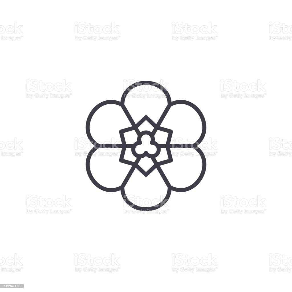 Freesia flower line icon concept. Freesia flower flat vector sign, symbol, illustration. - Royalty-free Beauty stock vector