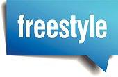 freestyle blue 3d realistic paper speech bubble