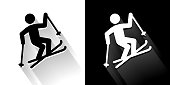 Freestyle Skiing  Black and White Icon with Long Shadow. This 100% royalty free vector illustration is featuring the square button and the main icon is depicted in black and in white with a black icon on it. It also has a long shadow to give the icons more depth.