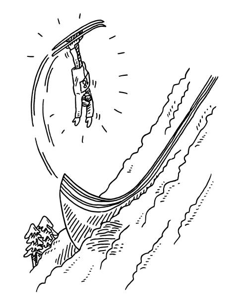Freestyle Skiing Jump Drawing Hand-drawn vector drawing of a Winter Sport scene, Freestyle Skiing, a fearless sportsman jumps upside down. Black-and-White sketch on a transparent background (.eps-file). Included files are EPS (v10) and Hi-Res JPG. winter sport stock illustrations