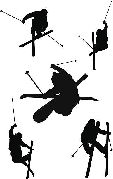Freestyle skiing silhouettes This is a vector illustration of five different freestyle skiers doing various grabs, spins, and tricks. stunt stock illustrations