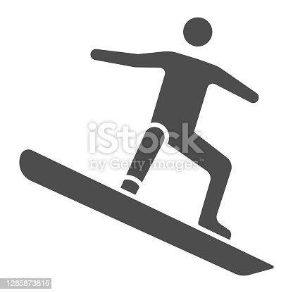 istock Freestyle snowboarding solid icon, Winter sport concept, snowboarder jumping sign on white background, snowboarder jump doing tricks icon in glyph style for mobile and web. Vector graphics. 1285873815