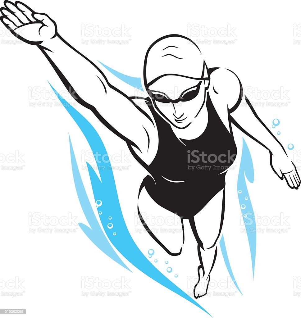 Freestyle Woman Swimming vector art illustration