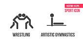 Freestyle wrestling, greco-roman wrestling und artistic gymnastics  sport icons, logo. athlete pictogram, logo