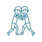 Freestyle wrestling linear icon concept. Freestyle wrestling line vector sign, symbol, illustration.