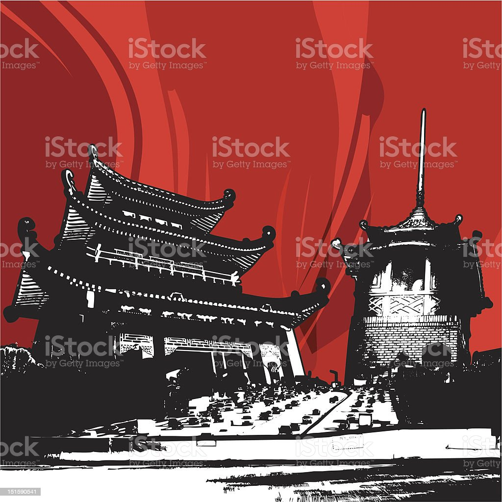 Freeway to Chinatown royalty-free stock vector art