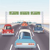 Vintage American cars on highway, cityscape on the horizon, overhead signs. Global colors.