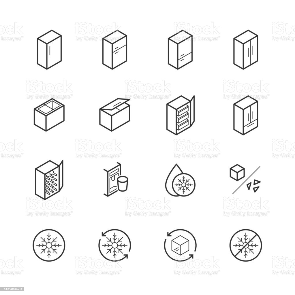 Freezer and refrigerator icon set in thin line style vector art illustration