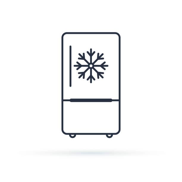 gefrierfach kalt liniensymbol, umriss vektor schild, linearen stil piktogramm isoliert auf weiss. - kühlschränke stock-grafiken, -clipart, -cartoons und -symbole