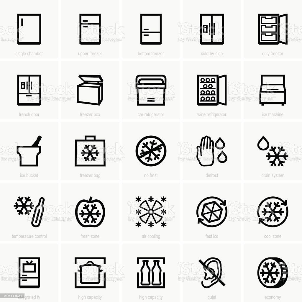 Freezer icons vector art illustration