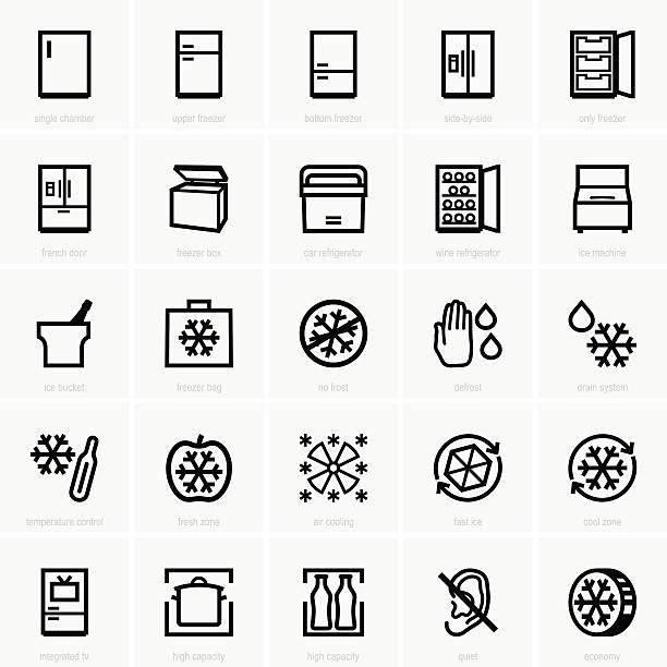 gefrierschrank symbole - kühlschränke stock-grafiken, -clipart, -cartoons und -symbole