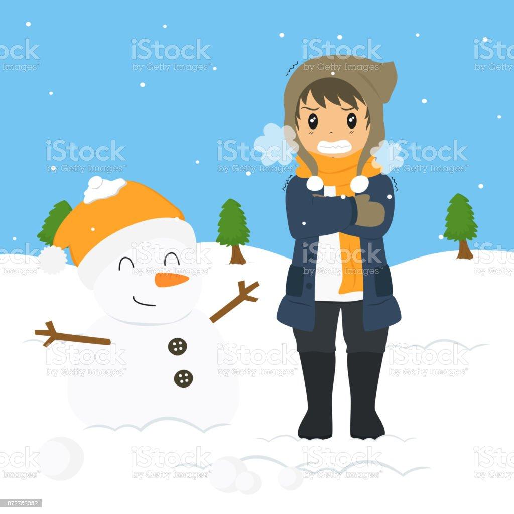 Ilustración de Niño De Congelación En Invierno Frío Vector De ...