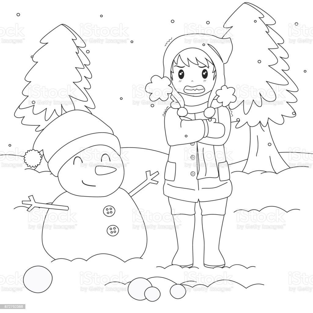 Ilustración de Muchacho En Invierno Frío Contorno De Dibujos ...