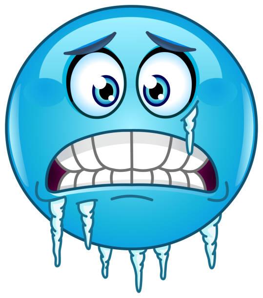 ilustraciones, imágenes clip art, dibujos animados e iconos de stock de emoticon de congelación - frío