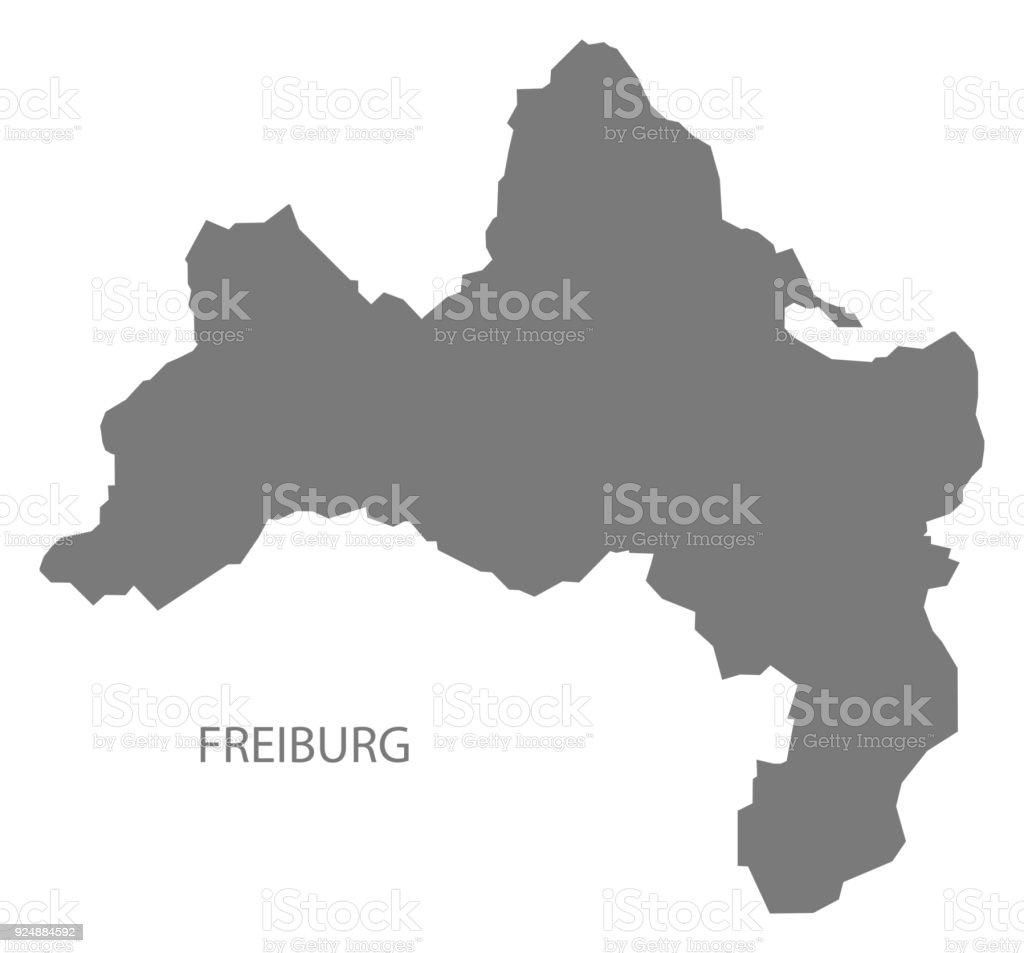 Freiburg Karte.Freiburg Stadt Karte Grau Abbildung Silhouette Form Stock