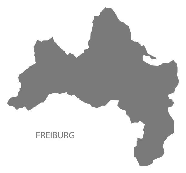 freiburg stadt karte grau abbildung silhouette form - schwarzwald stock-grafiken, -clipart, -cartoons und -symbole