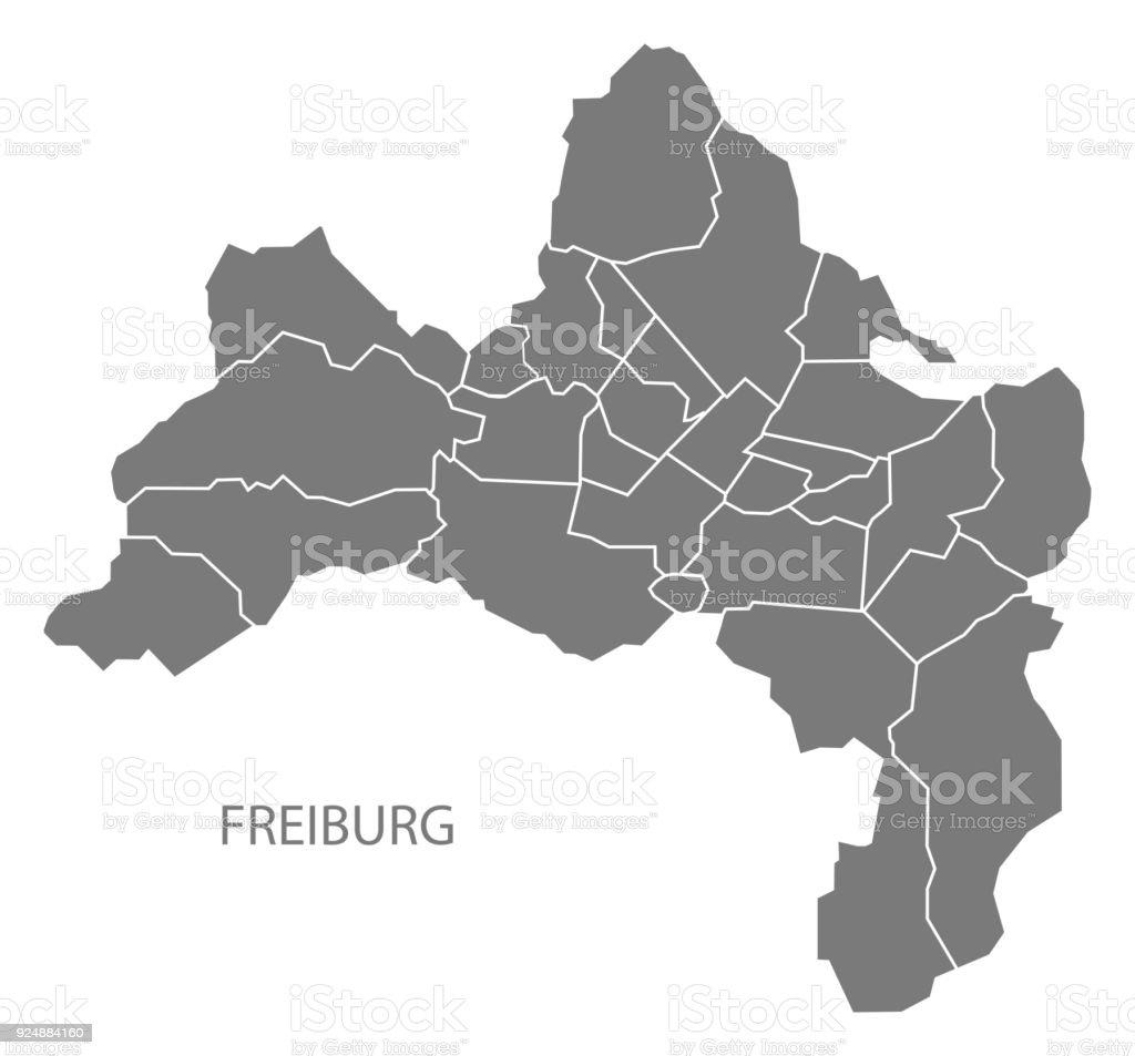 Freiburg Karte Stadtteile.Freiburg Stadtplan Mit Bezirken Grau Abbildung Silhouette Form Stock