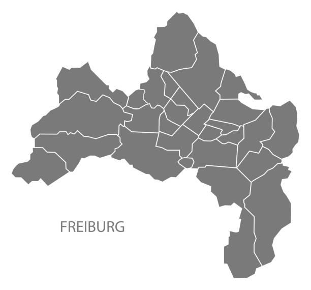 freiburg stadtplan mit bezirken grau abbildung silhouette form - schwarzwald stock-grafiken, -clipart, -cartoons und -symbole