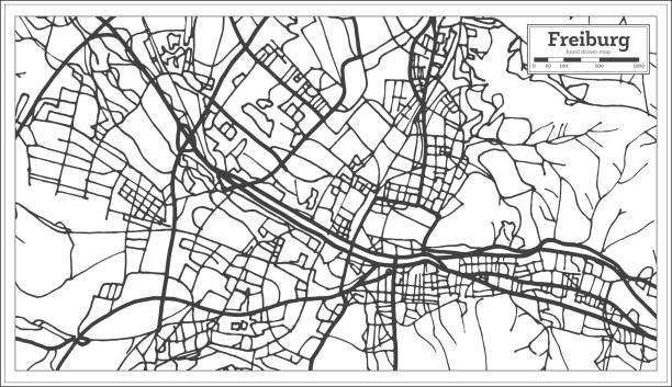 freiburg deutschland stadtplan im retro-stil. der umriß. - schwarzwald stock-grafiken, -clipart, -cartoons und -symbole