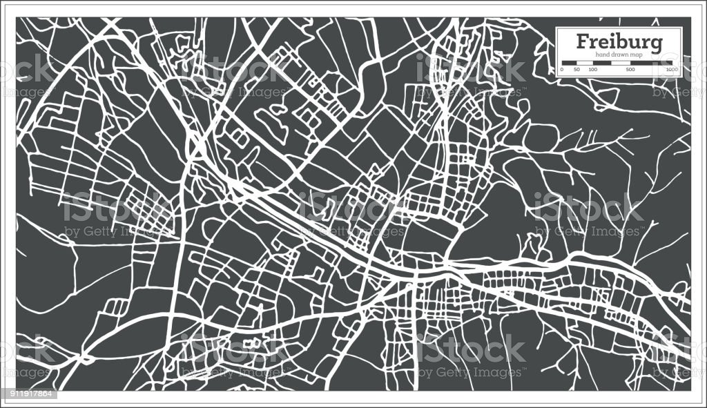 Freiburg Germany City Map In Retro Style Outline Map Stock Vector