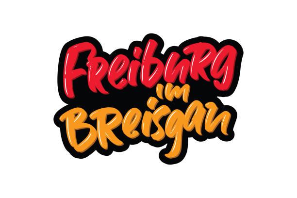 freiburg im breisgan deutschland schrifttext. vektor-illustration logo-text für webseiten, print und werbung - schwarzwald stock-grafiken, -clipart, -cartoons und -symbole