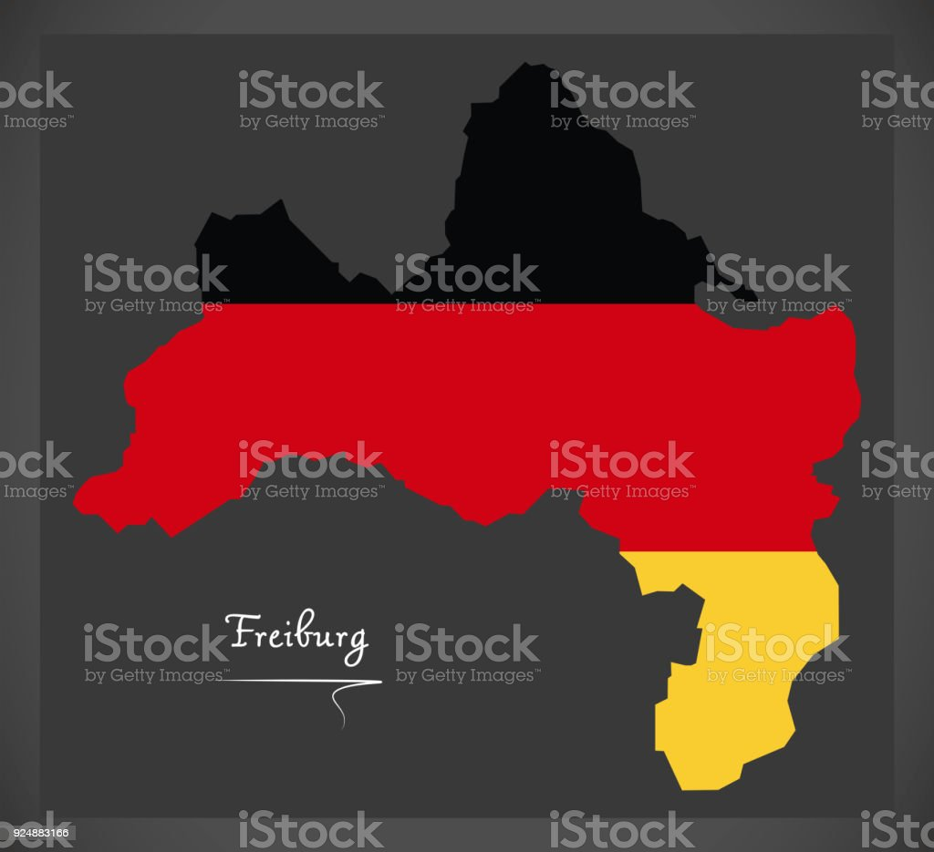 Freiburg map with German national flag illustration vector art illustration