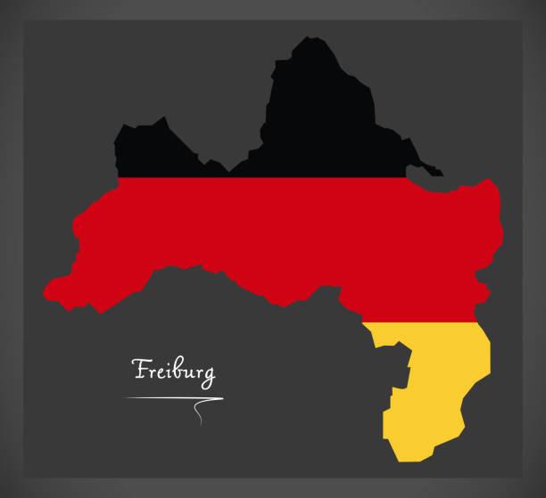 freiburg-karte mit deutschen nationalflagge illustration - schwarzwald stock-grafiken, -clipart, -cartoons und -symbole