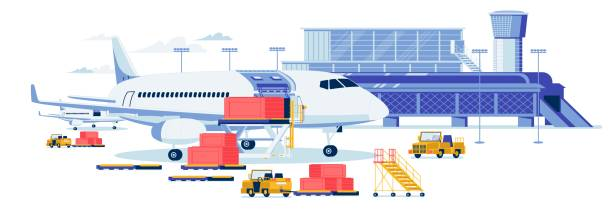 Freight Aircraft and Cargo Transportation Banner. Freight Aircrafting and Cargo Transportation Background. Airport Terminal Building with Loaders Trucks Loading Bulky Goods Containers in Airplane Cargo Hold. Flat Cartoon Vector Illustration. airport backgrounds stock illustrations