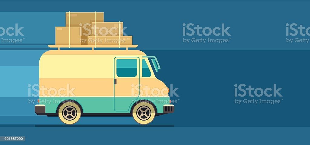 Freight cargo delivery transport minibus ベクターアートイラスト