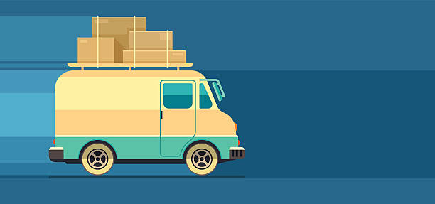 freight cargo delivery transport minibus - 新居点のイラスト素材/クリップアート素材/マンガ素材/アイコン素材