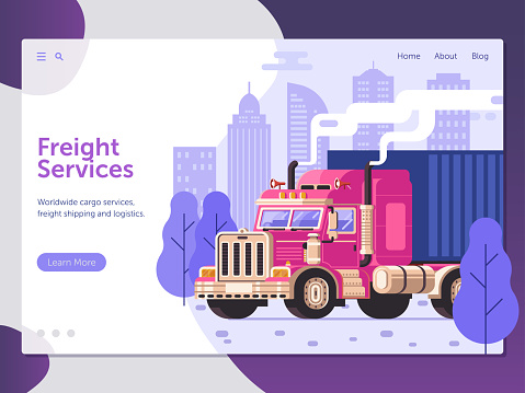 Freight Cargo Service Website Template Stock Vector Art & More Images of  Advertisement