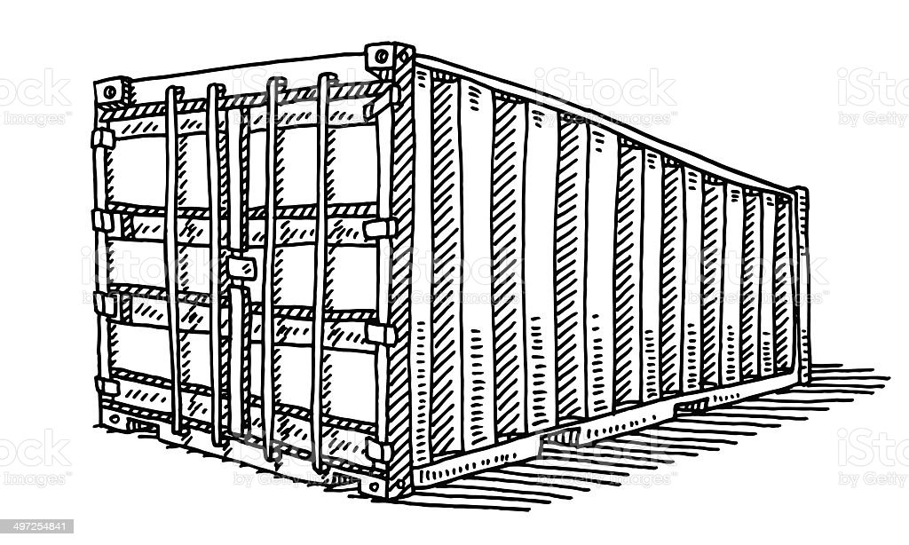 Freight Container Drawing vector art illustration