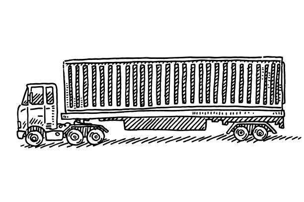 Freight Container Truck Transportation Drawing Hand-drawn vector drawing of a Freight Container Truck, Transportation. Black-and-White sketch on a transparent background (.eps-file). Included files are EPS (v10) and Hi-Res JPG. transportation stock illustrations
