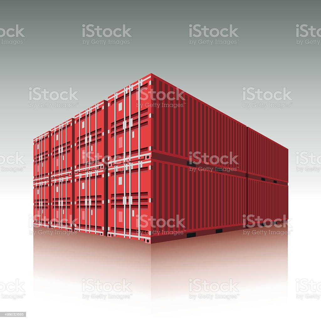Freight containers vector art illustration