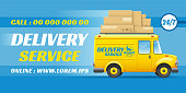 Freight delivery. Yellow minivan rides with logo on the side and parcel boxes at the top. Fast delivery service in the city and country. Blue background with place for text. Vector illustration.