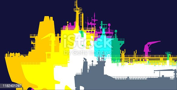 Colourful silhouettes of Freight or Cargo ships