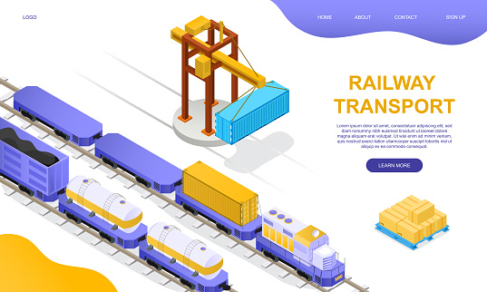 Freight rail transport concept. Freight wagons, cisterns and containers stand on loading or unloading at a freight station with a crane girder. Isometric cartoon vector illustration. Website template.