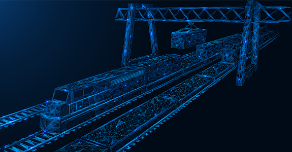 Freight railway station. The point of exchange of cargo between trains. A hydraulic lift moves the container to another train. Low-poly construction. Blue background.