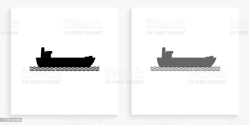 Freight Ship Black and White Square Icon. This 100% royalty free...