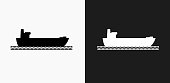 Freight Ship Icon on Black and White Vector Backgrounds. This vector illustration includes two variations of the icon one in black on a light background on the left and another version in white on a dark background positioned on the right. The vector icon is simple yet elegant and can be used in a variety of ways including website or mobile application icon. This royalty free image is 100% vector based and all design elements can be scaled to any size.