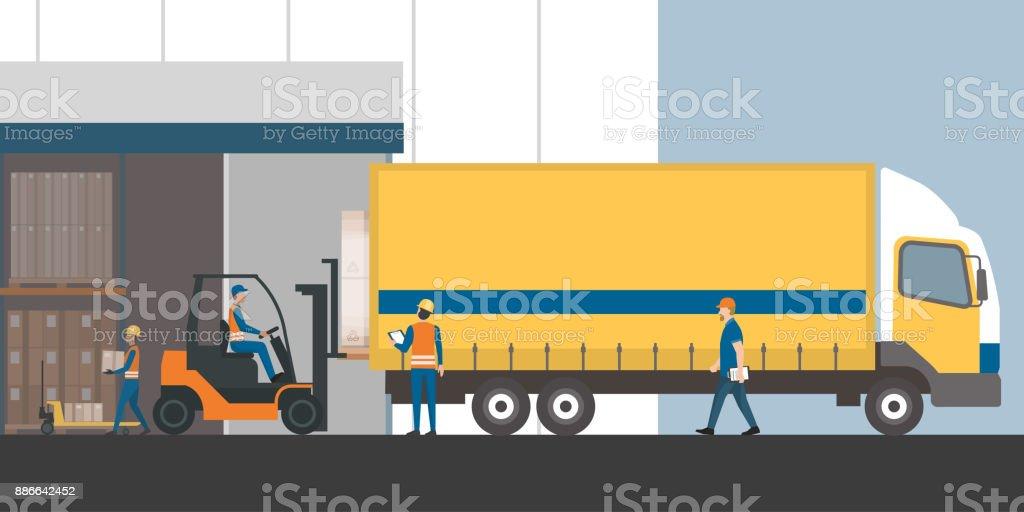 Envío de carga y almacenamiento - ilustración de arte vectorial