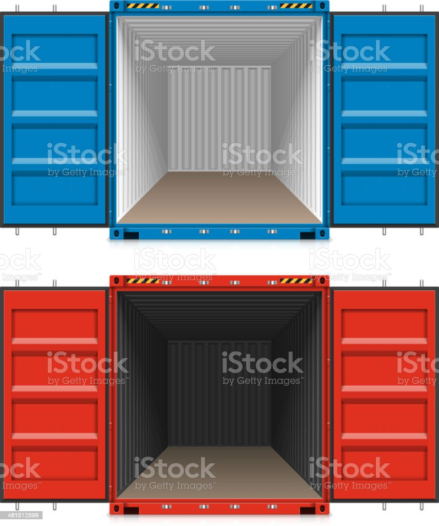 Freight shipping, open cargo containers vector art illustration