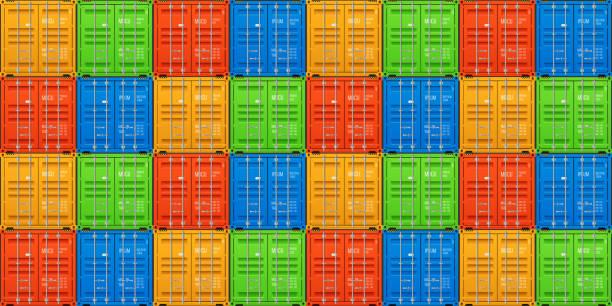 stockillustraties, clipart, cartoons en iconen met vrachtverzendingen, gestapelde lading containers. naadloze vector - airport pickup