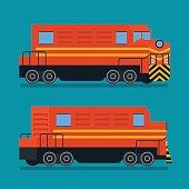 Freight train. Cargo transportation logistic rail road vector icon