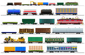 Freight train cars. Railway cargo carriage set with silhouettes. Vector, isolated on white