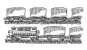 Freight Train Side View Drawing
