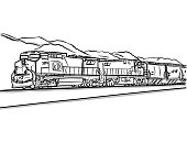 Freight train in a sketched vector illustration
